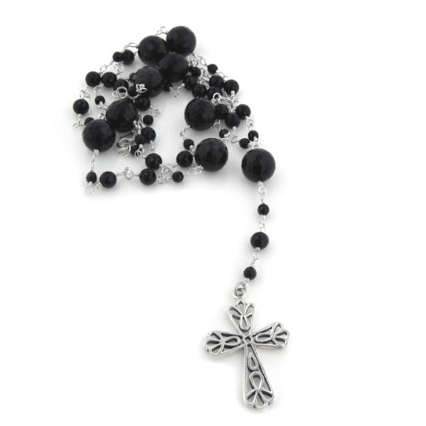 Sterling Silver and Black Onyx Catholic Rosary Prayer Beads / Cross Necklace - Silver Insanity