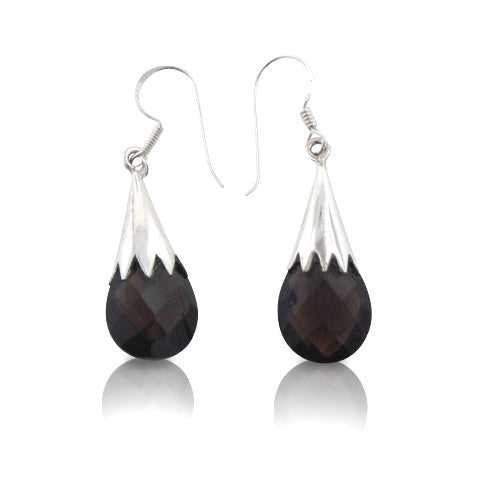 Large Faceted Smoky Quartz Briolette Drop Earrings - Sterling Silver