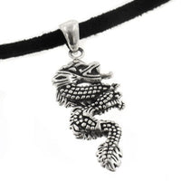 Sterling Silver Serpent Dragon Pendant on Adjustable Black Suede Cord Necklace - Silver Insanity