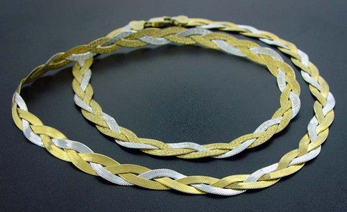 Sterling Silver Braided Herringbone Two Tone Necklace - Silver Insanity
