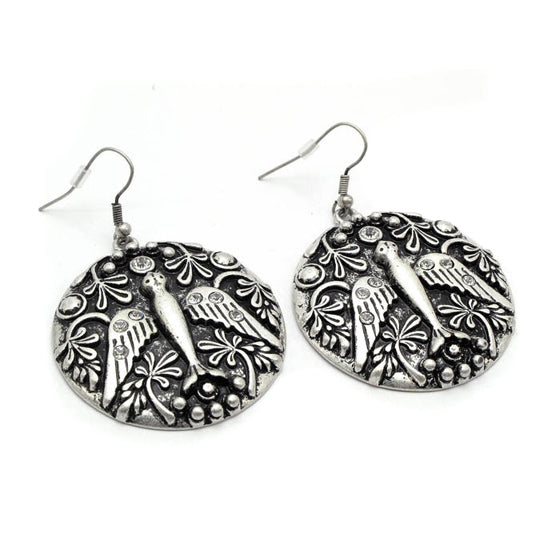 Dove of Peace Large Round Disc Silver-Tone Earrings - Silver Insanity