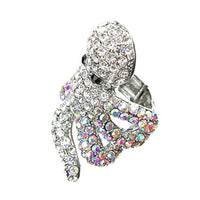 Cthulhu Crystal Covered Octopus Silvertone Stretch Ring - Silver Insanity