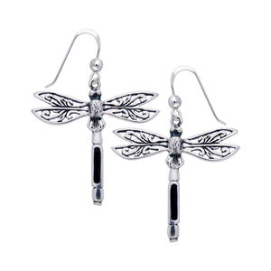 Sterling Silver Filigree Dragonfly Black Stone Inlay Earrings - Silver Insanity