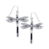 Sterling Silver Filigree Dragonfly Black Stone Inlay Earrings