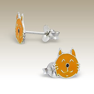 Orange Tabby Cat Face Sterling Silver Post Earrings - Tiny Child Studs - Silver Insanity