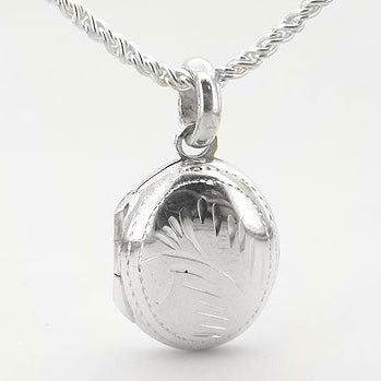 "Small Childs Oval Classy Sterling Silver Locket Pendant 16"" Necklace"