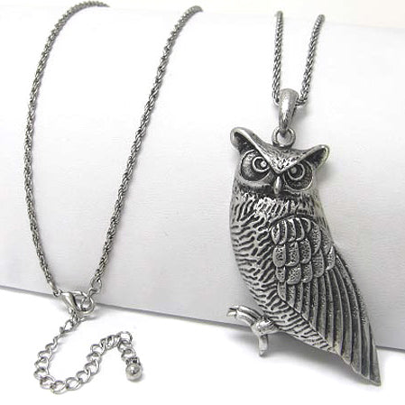 Guardian Owl Totem Antiqued Large Pendant with Long 30