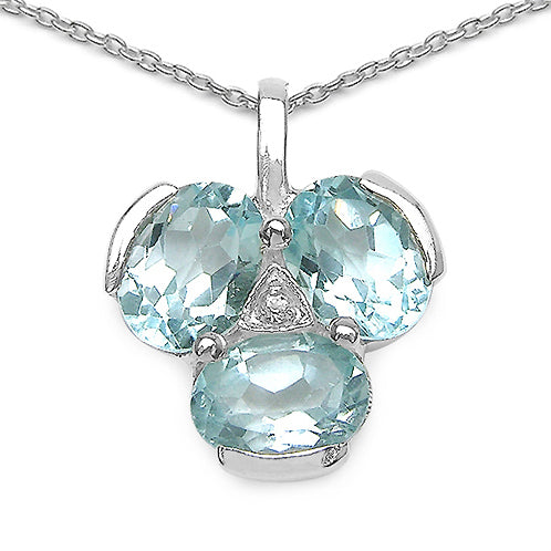 Blue & White Topaz Sterling Silver Pendant Necklace