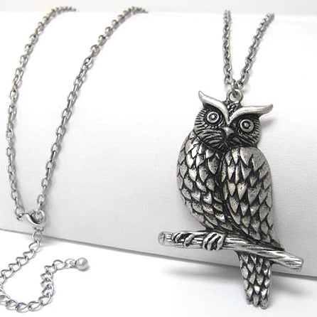 "Large Owl Guardian on Tree Branch Antiqued Pendant with Long 30"" Chain Necklace"
