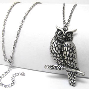 "Large Owl Guardian on Tree Branch Antiqued Pendant with Long 30"" Chain Necklace - Silver Insanity"