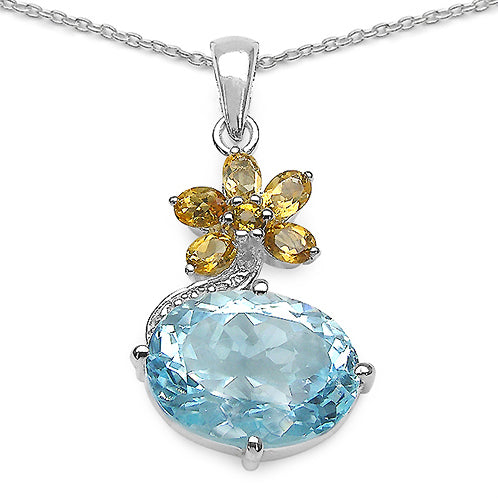 Blue Topaz & Citrine Flower Sterling Silver Pendant Necklace - Silver Insanity