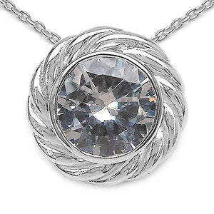 Genuine White Cubic Zirconia Sterling Silver Pendant Necklace - Silver Insanity