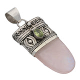 Handcrafted Sterling Silver Rose Quartz and Peridot Drop Poison Tongue Pendant - Silver Insanity