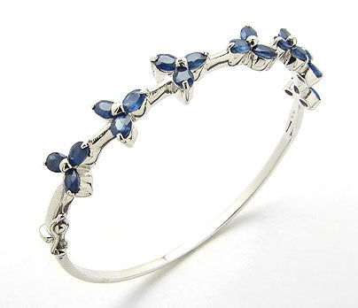 5.6cttw Genuine Blue Sapphire Sterling Silver Bracelet - Silver Insanity