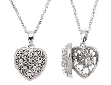 Rhodium Plated Sterling Silver #1 Mom CZ Heart Pendant 16