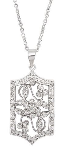 "Victorian Style Open Flower Pave CZ Rhodium Sterling Silver Pendant 16"" Necklace - Silver Insanity"