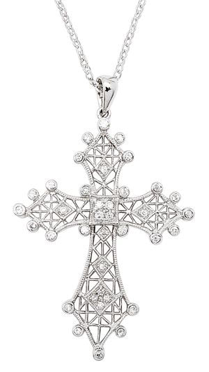"Sterling Silver CZ Filigree Cross Pendant Necklace 16"" - Silver Insanity"