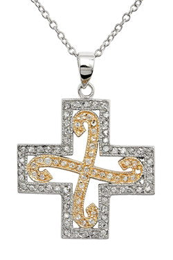 "Sterling Silver 2-Tone Waved CZ Inlayed Cross Pendant 17"" Necklace"