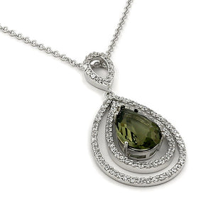 Rhodium Sterling Silver Smokey Green CZ Pendant Necklace - Silver Insanity