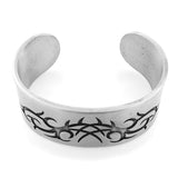 "Tribal Warrior Tattoo Wide Pewter Adjustable 8"" Cuff Bracelet - Silver Insanity"