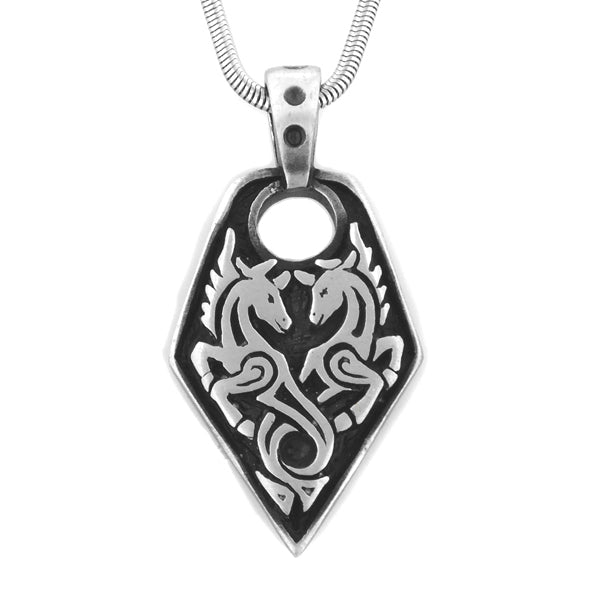 Mythic Sea Unicorn - Silver Tone Pendant and 20