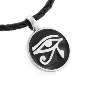 "Egyptian Eye of Horus Amulet Silver Pewter Pendant 20"" Necklace - Silver Insanity"