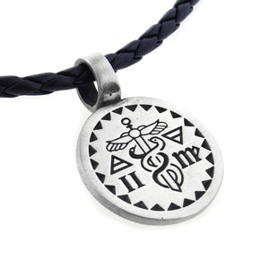 "Caduceus Intelligence Mercury Talisman Amulet Pendant 20"" Faux Leather Necklace - Silver Insanity"