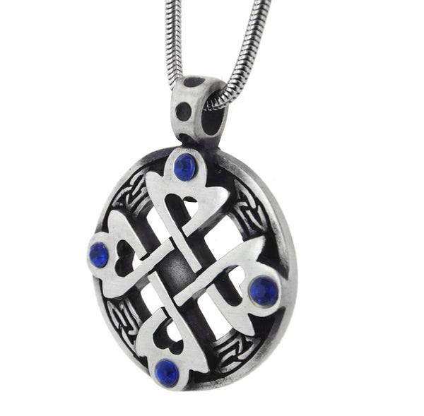 Celtic Cross Heart Blue Crystal Pendant Amulet 20