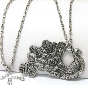 "Guardian Peacock Totem Antiqued Large Pendant with Long 30"" Chain Necklace - Silver Insanity"