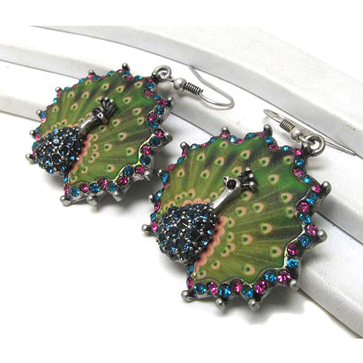 Vibrant Green Peacock Fantasy Crystal Silvertone Hook Earrings - Silver Insanity