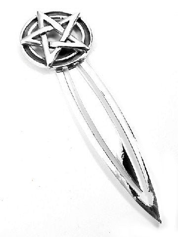 Pentagram Sterling Silver Pentacle Star Circle Bookmark - Silver Insanity