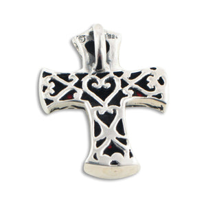 Black Onyx w/ Green Agate Sterling Silver Cross Pendant - Silver Insanity
