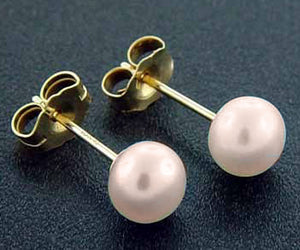 Genuine Classic Round Pink or Peach Cultured Pearl and 10K Gold Post Earrings - Silver Insanity