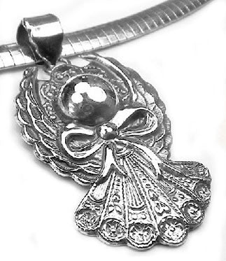 Sterling Silver Christmas Angel Winged Ornament Pendant - Silver Insanity