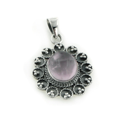 Ornate Flower Pink Rose Quartz Center Bali Style Sterling Silver Pendant