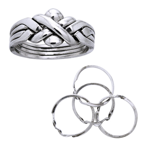 Sterling Silver Four Band X Weave Puzzle Ring - Silver Insanity