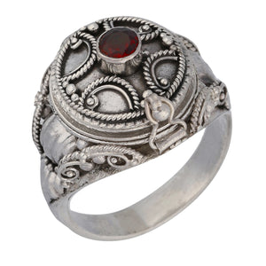 Medieval Ringed Cross Poison Locket Sterling Silver and Garnet Ring - Silver Insanity