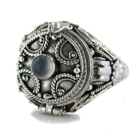 Medieval Ringed Cross Poison Locket Sterling Silver and Grey Moonstone Ring - Silver Insanity