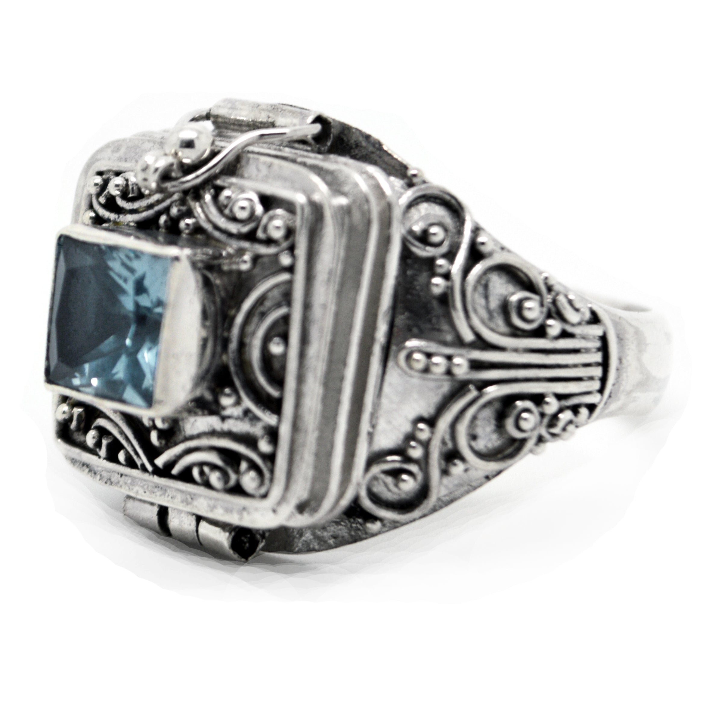 Sterling Silver Medieval Blue Topaz Poison Ring