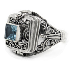 Sterling Silver Medieval Blue Topaz Poison Ring - Silver Insanity