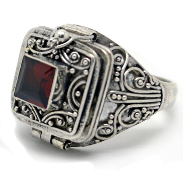 Square Genuine Garnet Poison Locket Box Sterling Silver Ring - Silver Insanity