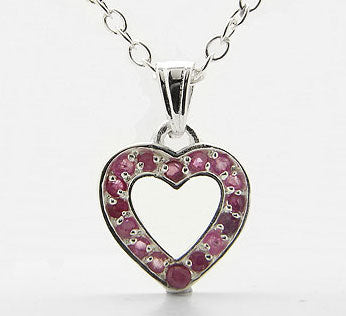 Genuine Ruby Heart Pendant Sterling Silver 16