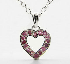 "Genuine Ruby Heart Pendant Sterling Silver 16"" Necklace - Silver Insanity"