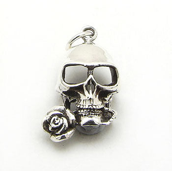 Tango Sterling Silver Gothic Spooky Skull with a Rose in his Teeth Charm Pendant - Silver Insanity