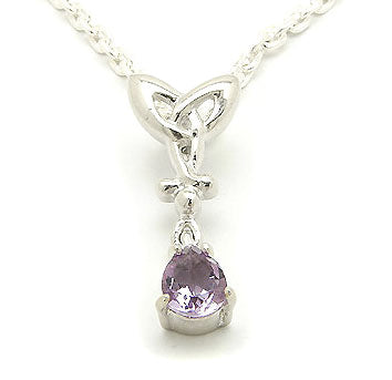 Celtic Knot w/ Amethyst Drop Sterling Silver Necklace - Silver Insanity
