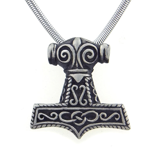 "Viking Thor's Hammer Pewter Pendant Necklace with 20"" Snake Chain - Silver Insanity"