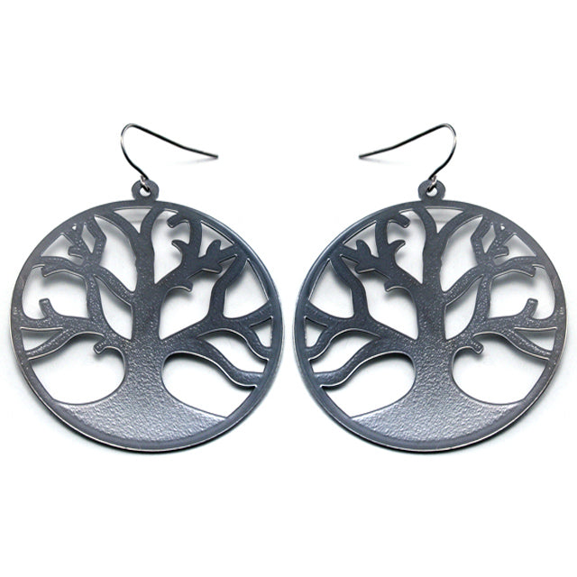 Bare Branches of Winter - Frosted Tree of Life Metal Disc Hook Earrings - Silver Insanity