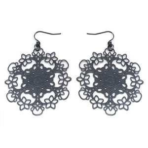 Dark Filigree Snowflake Metal Disc Hook Earrings - Silver Insanity