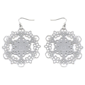 Bright Radiant Filigree Snowflake Metal Disc Hook Earrings - Silver Insanity
