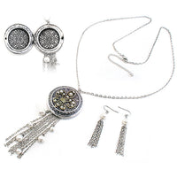 "Fleur-de-lis Faux Pearls Photo Locket 30"" Necklace & Earring Set - Silver Insanity"